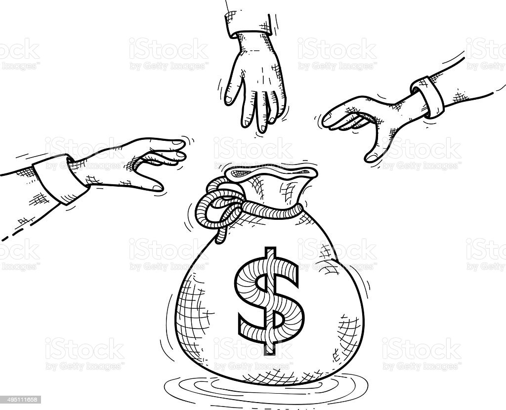 Chasing Money Hands Reaching For A Money Bag Stock