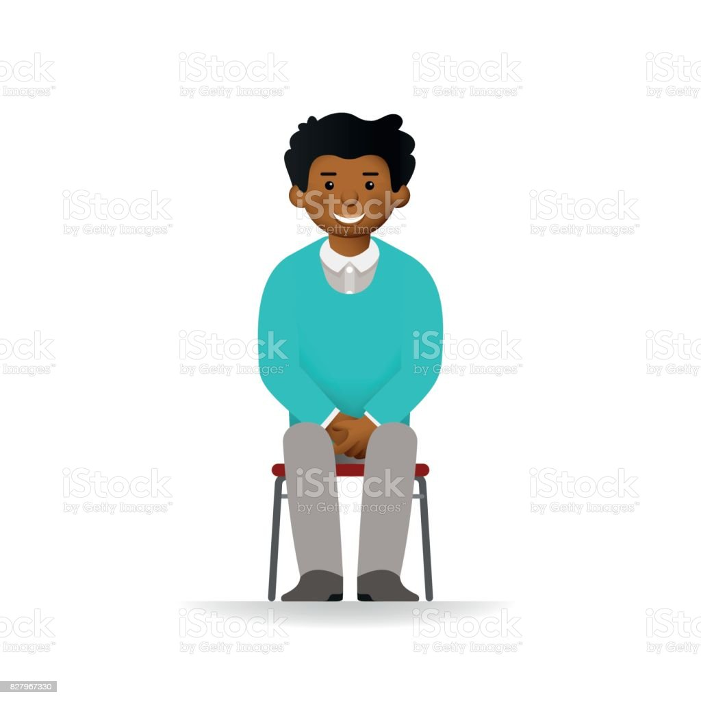 Chair Pants Cheeky African Man In Sweater And Pants Suit Posing Sitting On