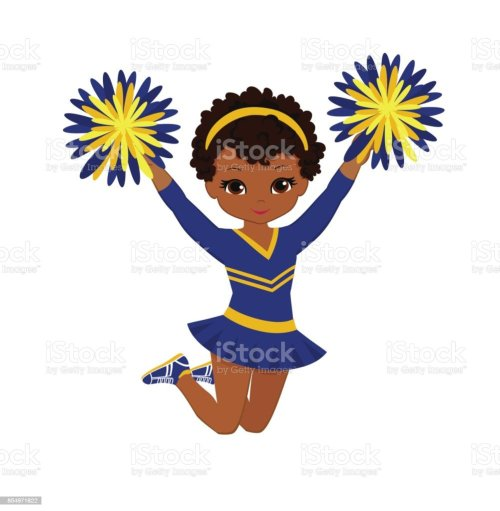 small resolution of cheerleader in blue and yellow uniform with pom poms vector art illustration