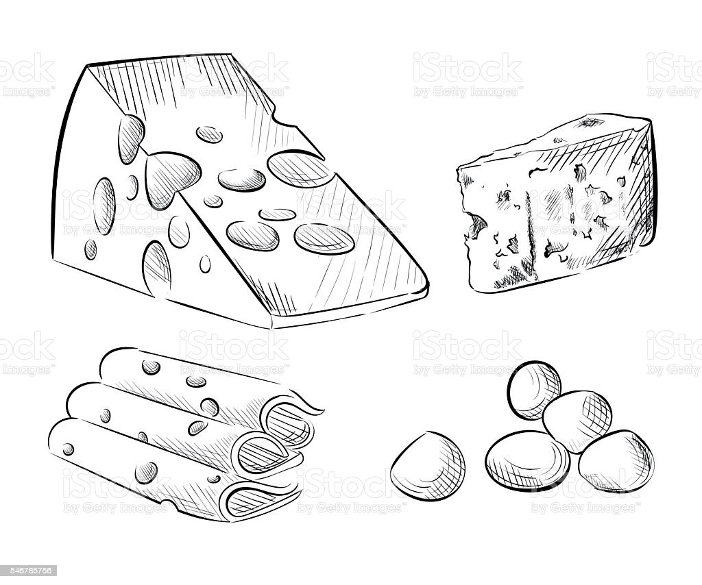 Royalty Free Cheddar Cheese Wedge Clip Art Vector Images
