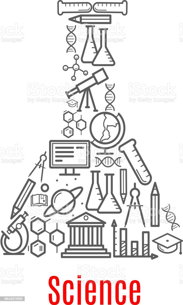 Chemical Flask With Science Education Vector Icon Stock