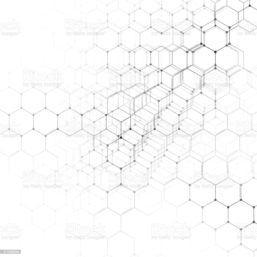 Chemistry 3d Pattern Hexagonal Molecule Structure On White
