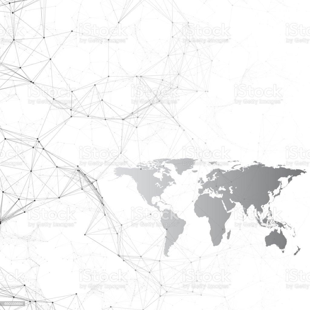 Chemistry Pattern Black World Map Connecting Lines And