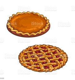 kirsche und pumpkin pie danksagung dessert lizenzfreies kirsche und pumpkin pie danksagung dessert stock vektor [ 1024 x 1024 Pixel ]