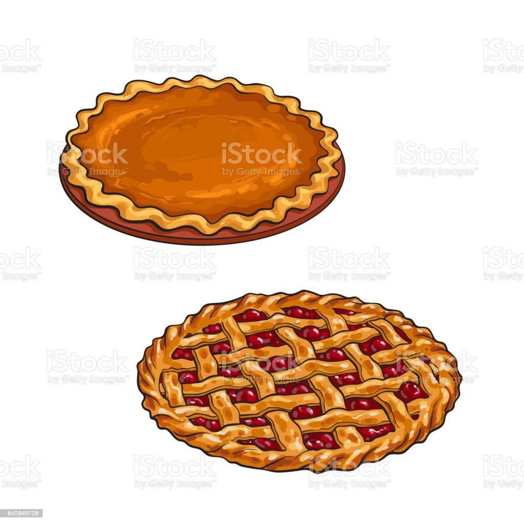 hight resolution of kirsche und pumpkin pie danksagung dessert lizenzfreies kirsche und pumpkin pie danksagung dessert stock vektor