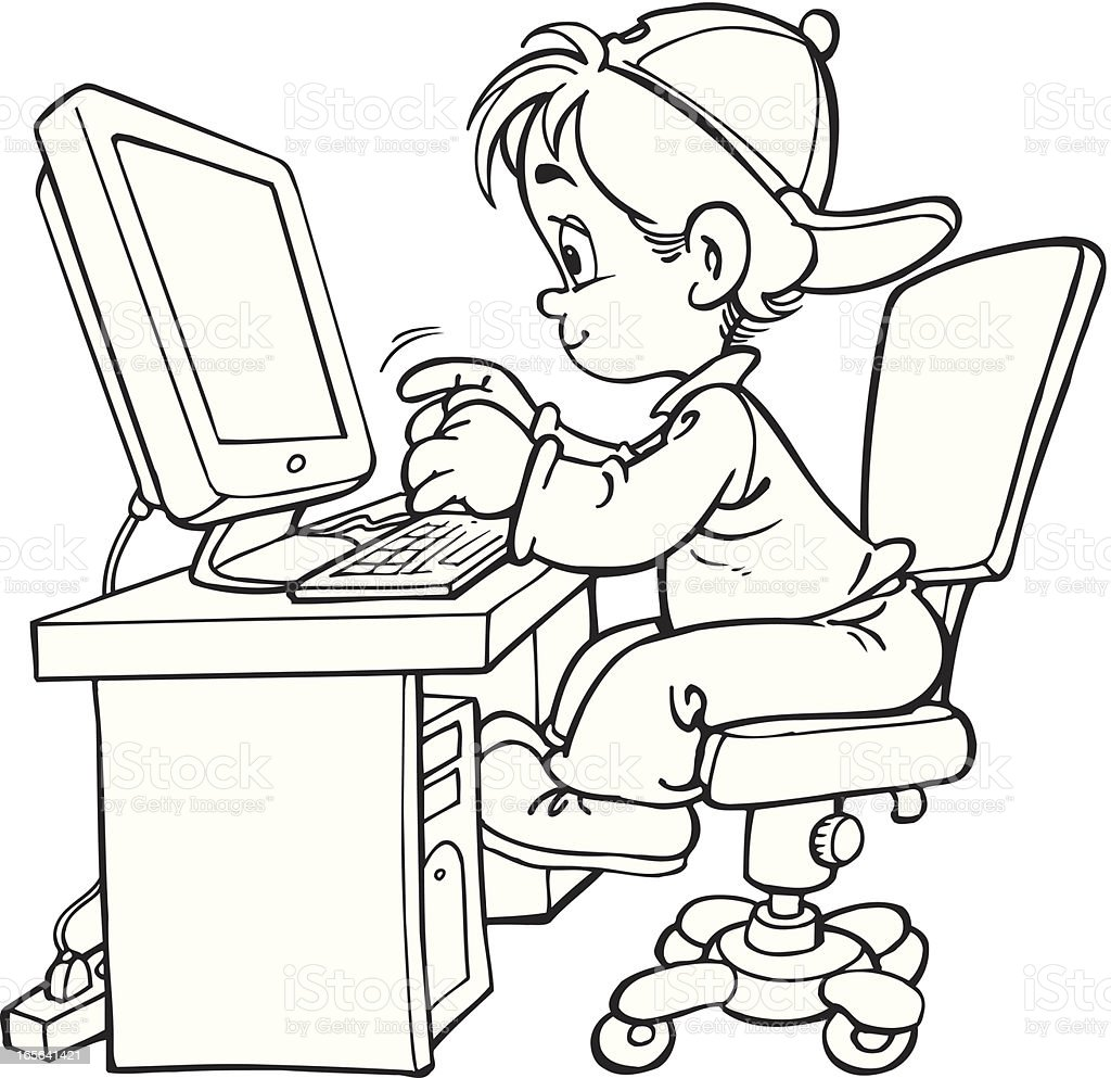 Child And Computer Stock Vector Art & More Images of Black