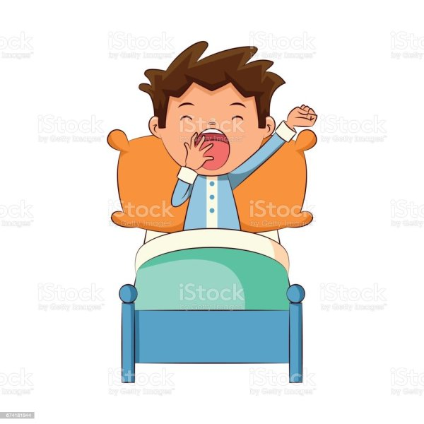 Child Yawning In Bed Stock Vector Art & Of
