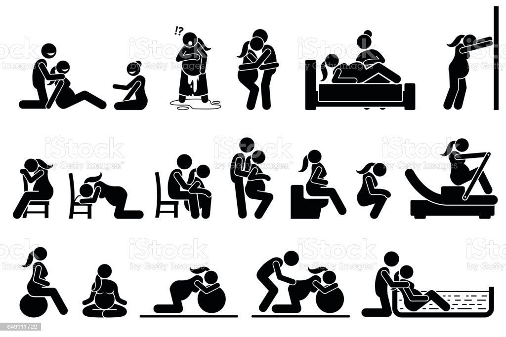 Childbirth Labor Positions And Postures At Home Stock
