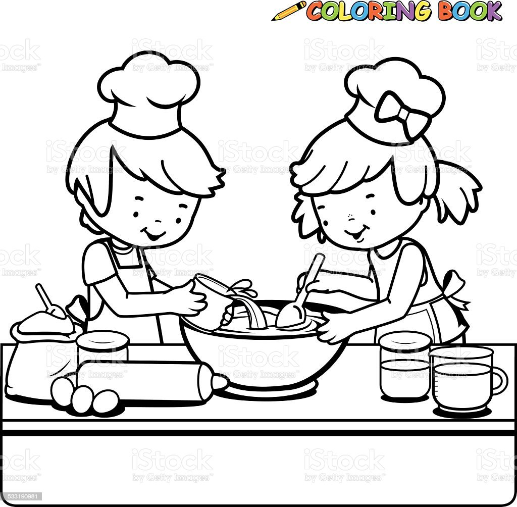 Children Cooking Coloring Book Page Stock Illustration