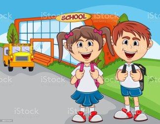 Children Going To School Cartoon Stock Illustration Download Image Now iStock