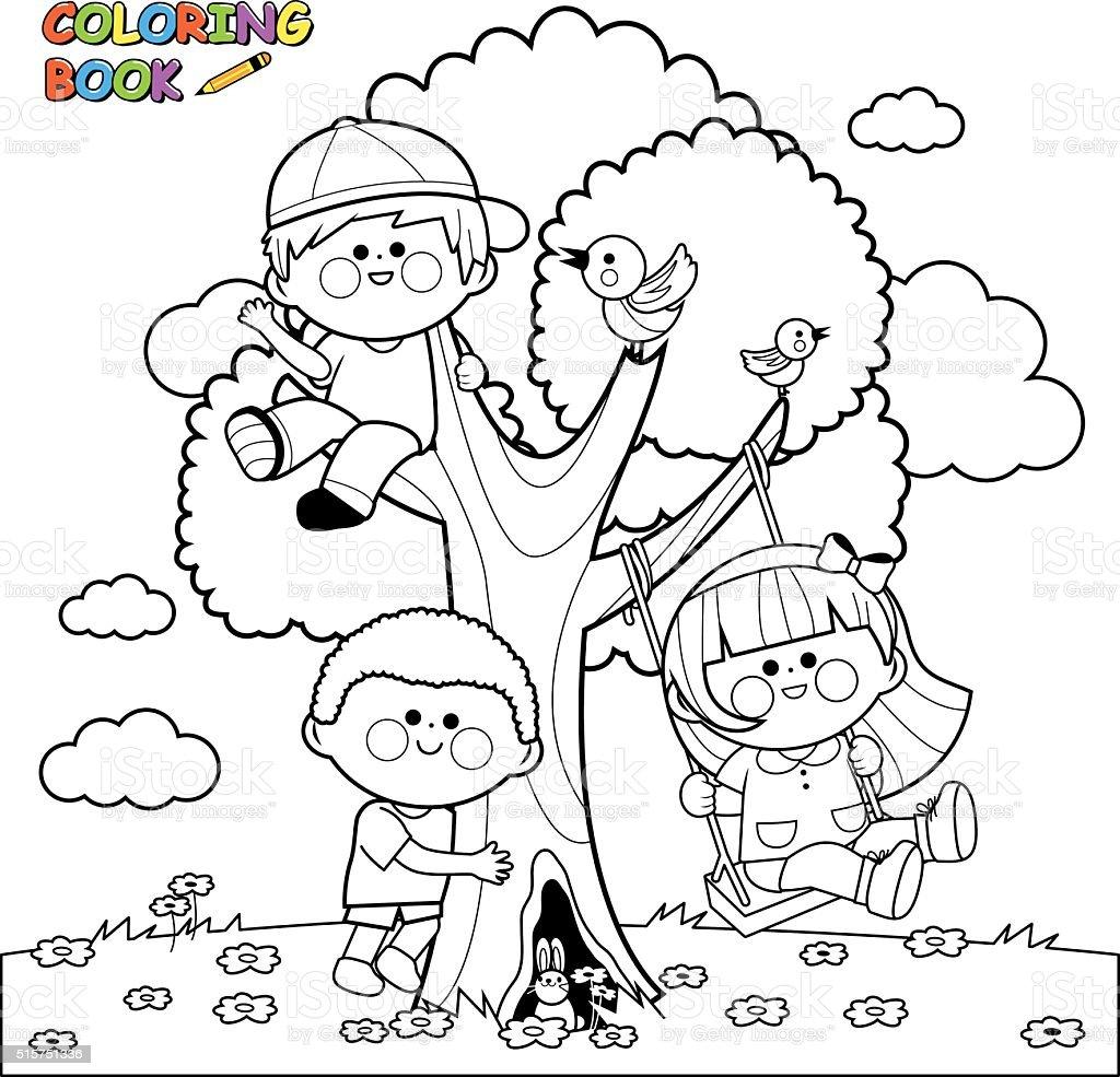 Kinder Spielen Auf Einem Baum Malbuch Seite Stock Vektor