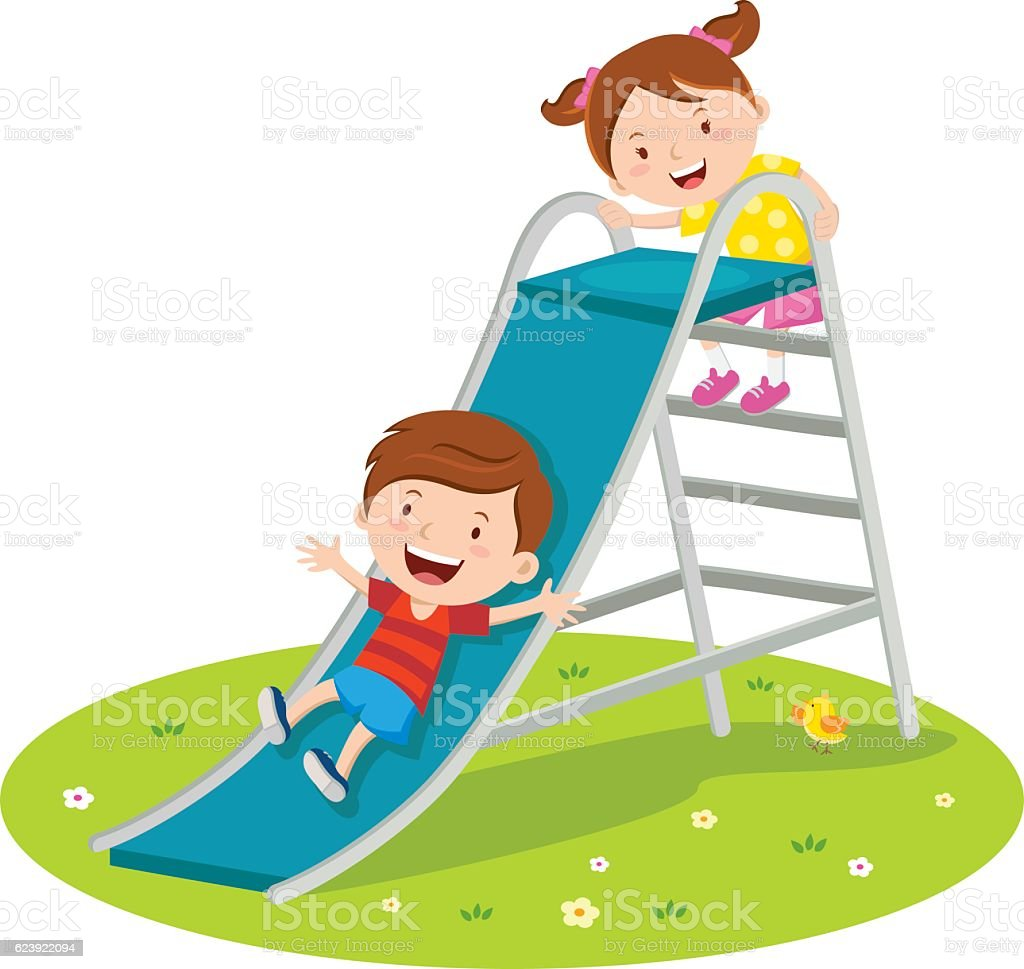 Rutsche Clipart Children Playing On Slide Stock Vector Art And More Images