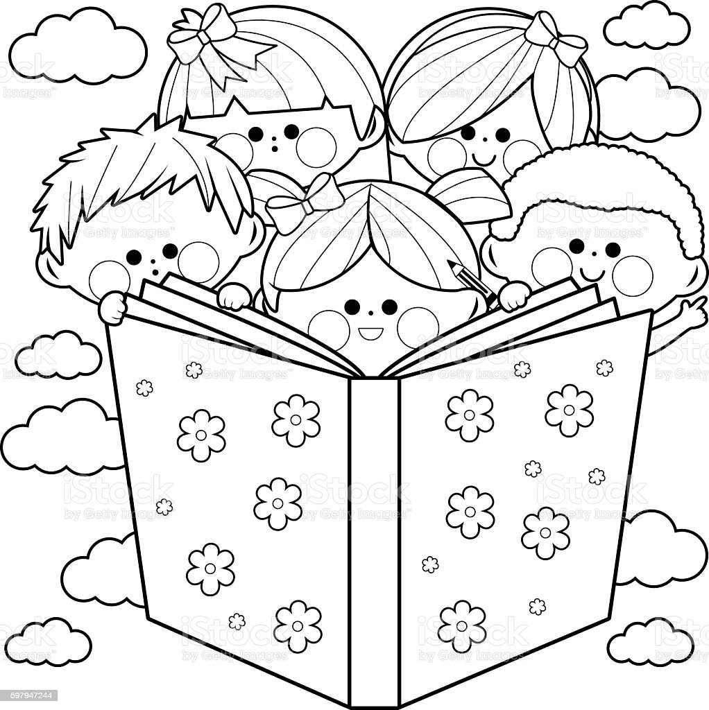 Children Reading A Book Coloring Book Page Stock