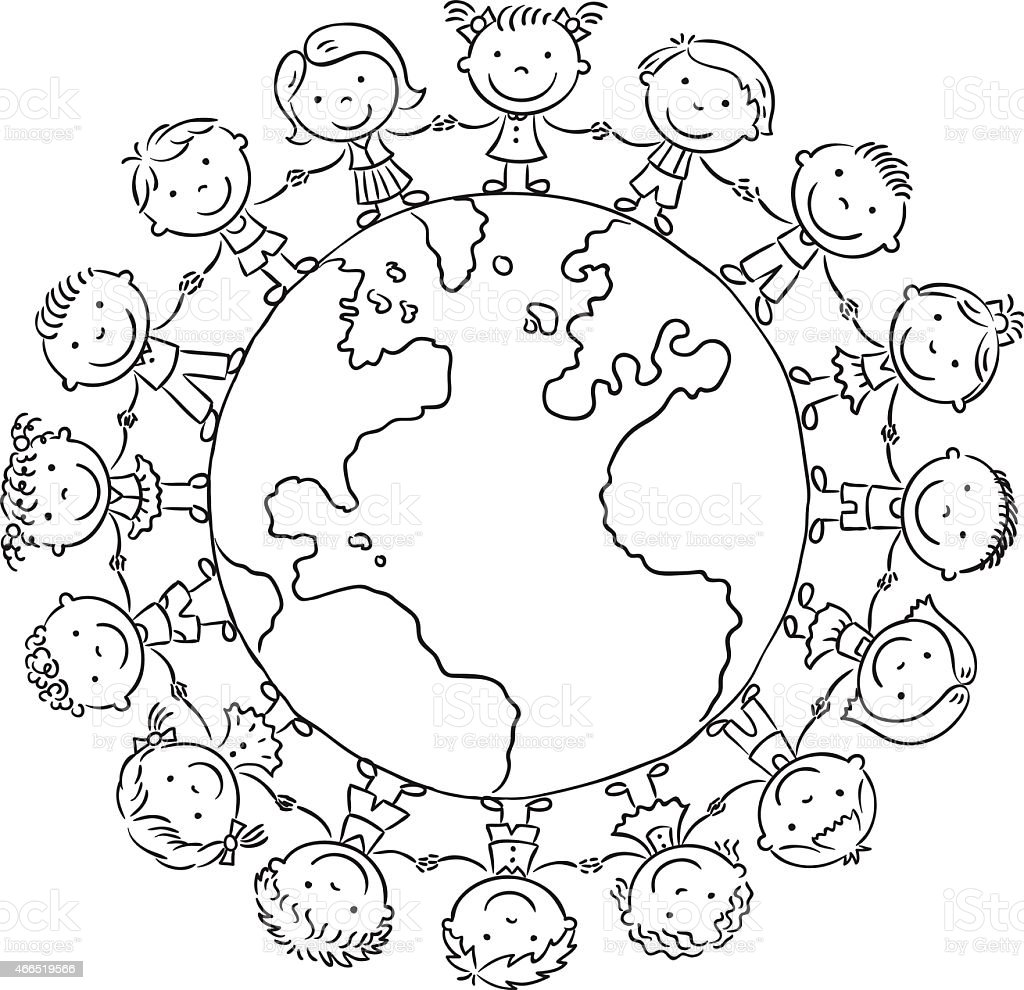 Children Round The Globe Outline Stock Illustration