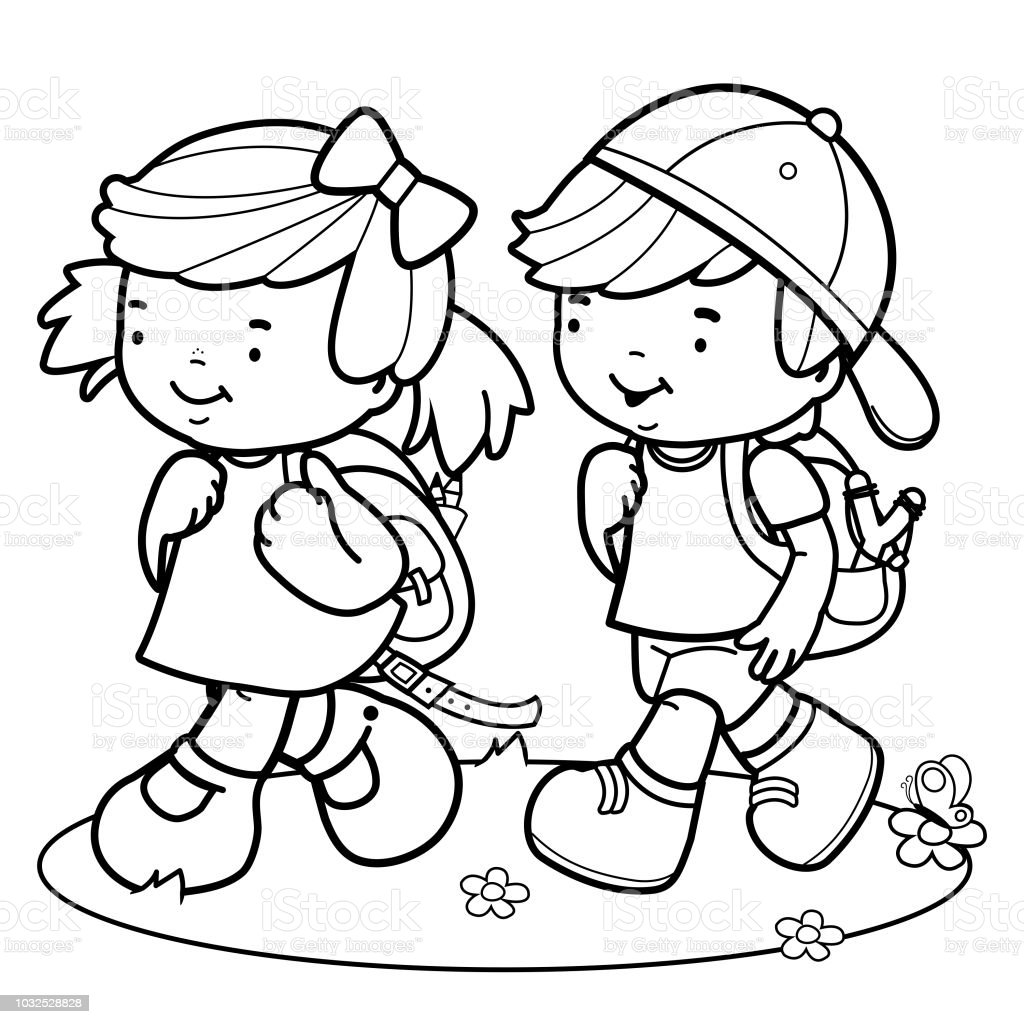 Children Walk To School Black And White Coloring Book Page