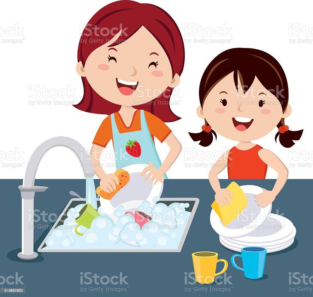 washing dishes illustrations