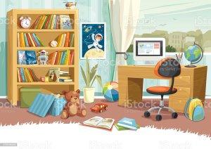 vector illustration childs child boy background toys istock zimmer desk istockphoto
