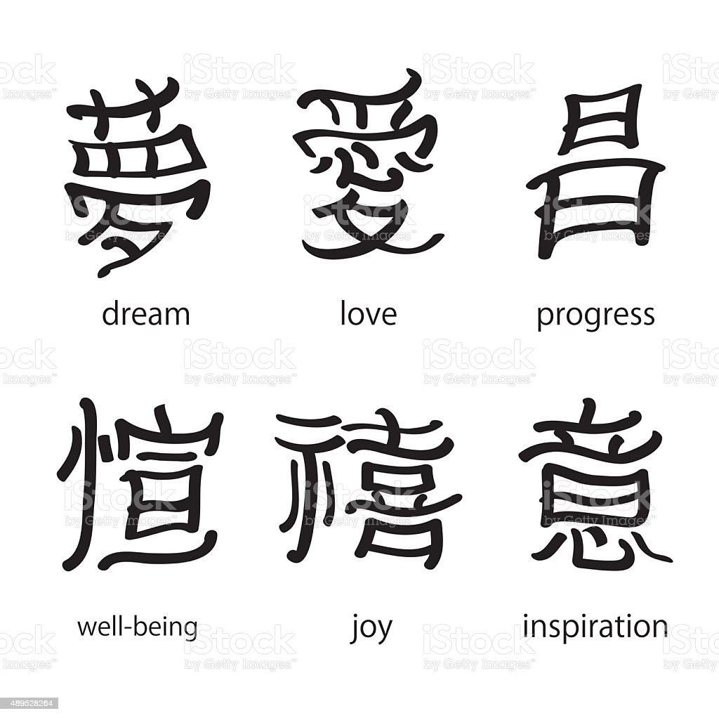 Chinese Characters With Translation Into English Vector