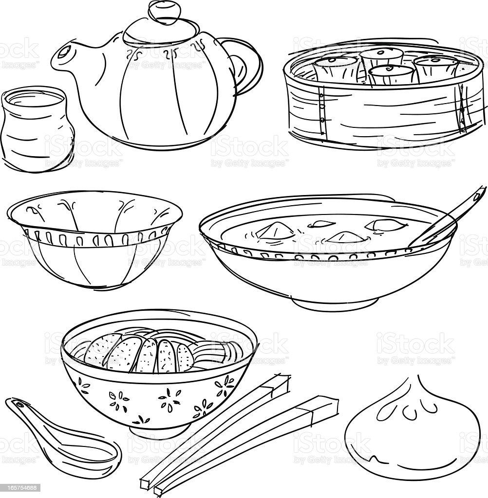 Chinese Food Collection In Sketch Style stock vector art