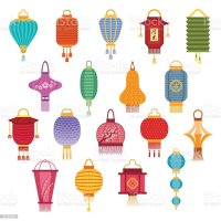 Chinese Lanterns Vector Illustration Stock Vector Art ...
