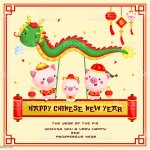 A Chinese New Year Of The Pig Year Greeting Card For Celebration Stock Illustration Download Image Now Istock