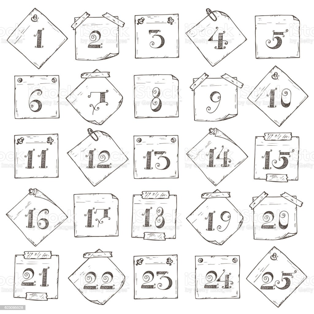 Christmas Advent Calendar Sticky Notes With Numbers Days