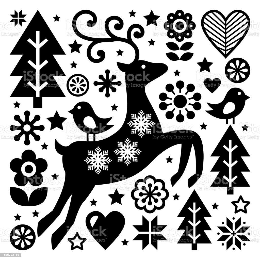modele vector folk noir et blanc de noel art folklorique scandinave renne decor doiseaux et de fleurs ou carte de voeux vecteurs libres de droits et plus d images vectorielles de arbre