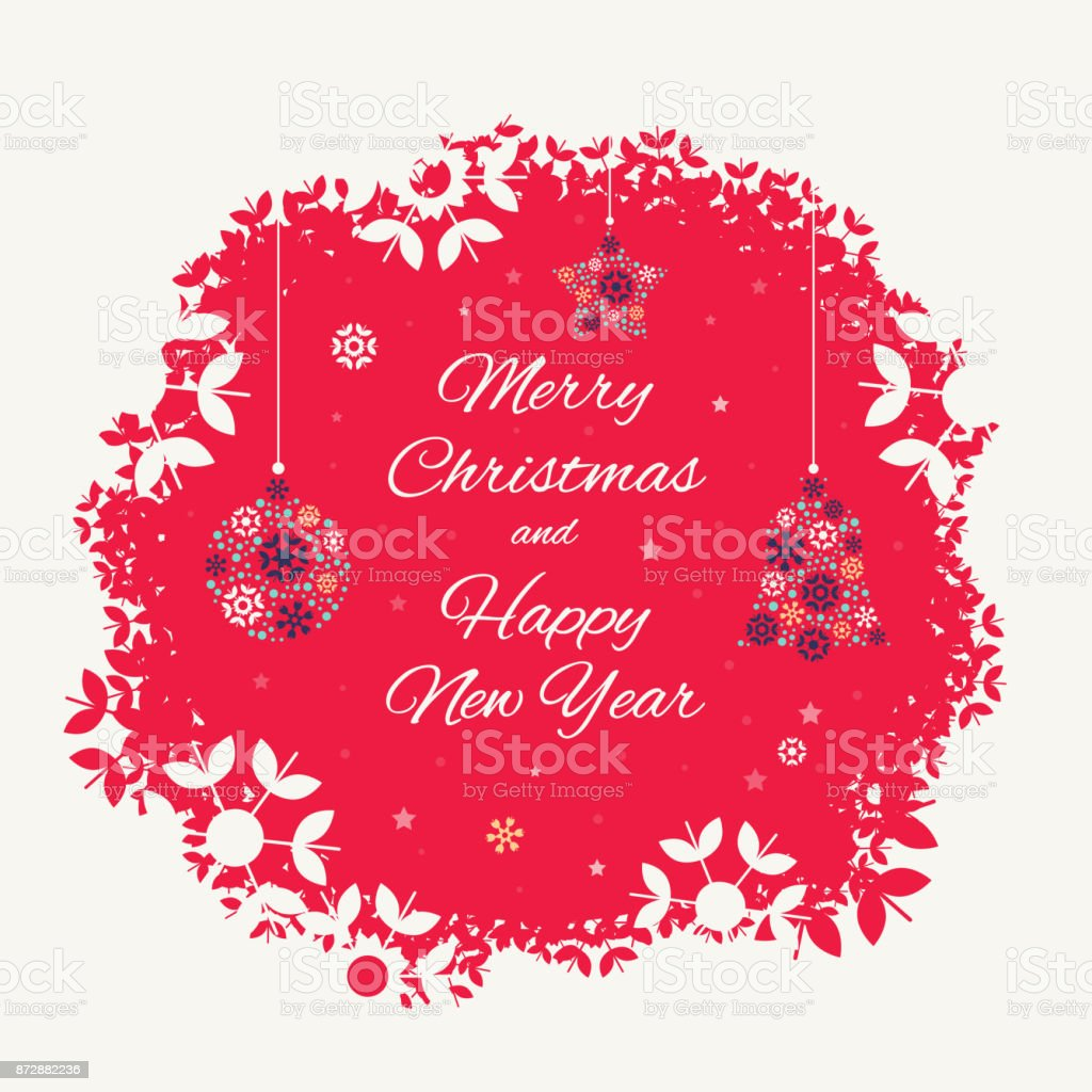 Christmas Card Template With Christmas Decorations Stock