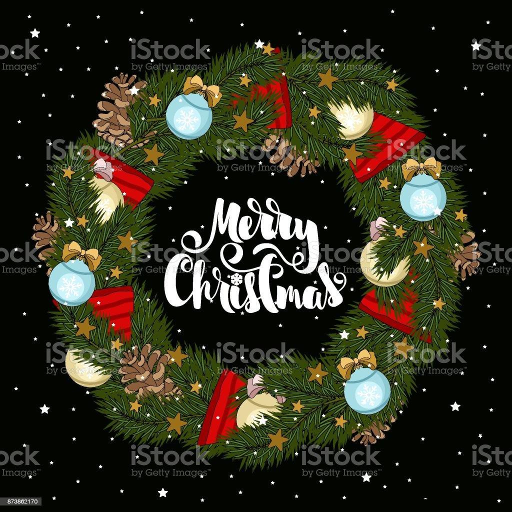 Christmas Card With Christmas Tree Branches And Christmas