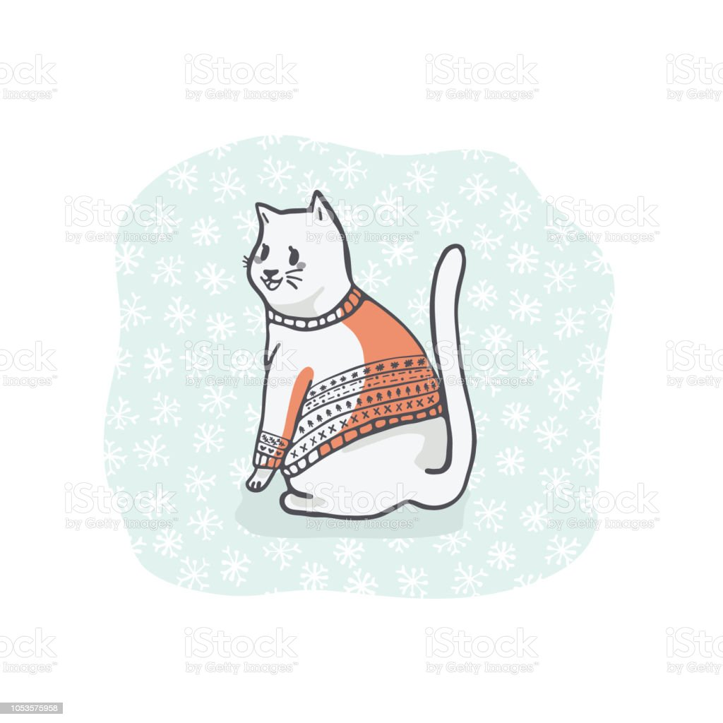 hight resolution of christmas cat greetings card clipart hand drawn cat lover in embroidery royalty free christmas