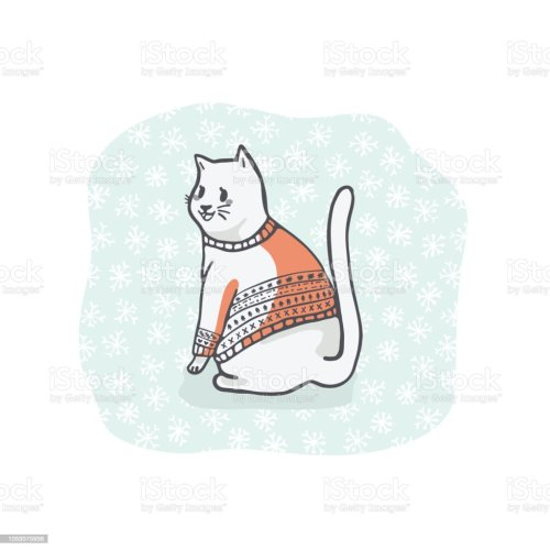 small resolution of christmas cat greetings card clipart hand drawn cat lover in embroidery royalty free christmas