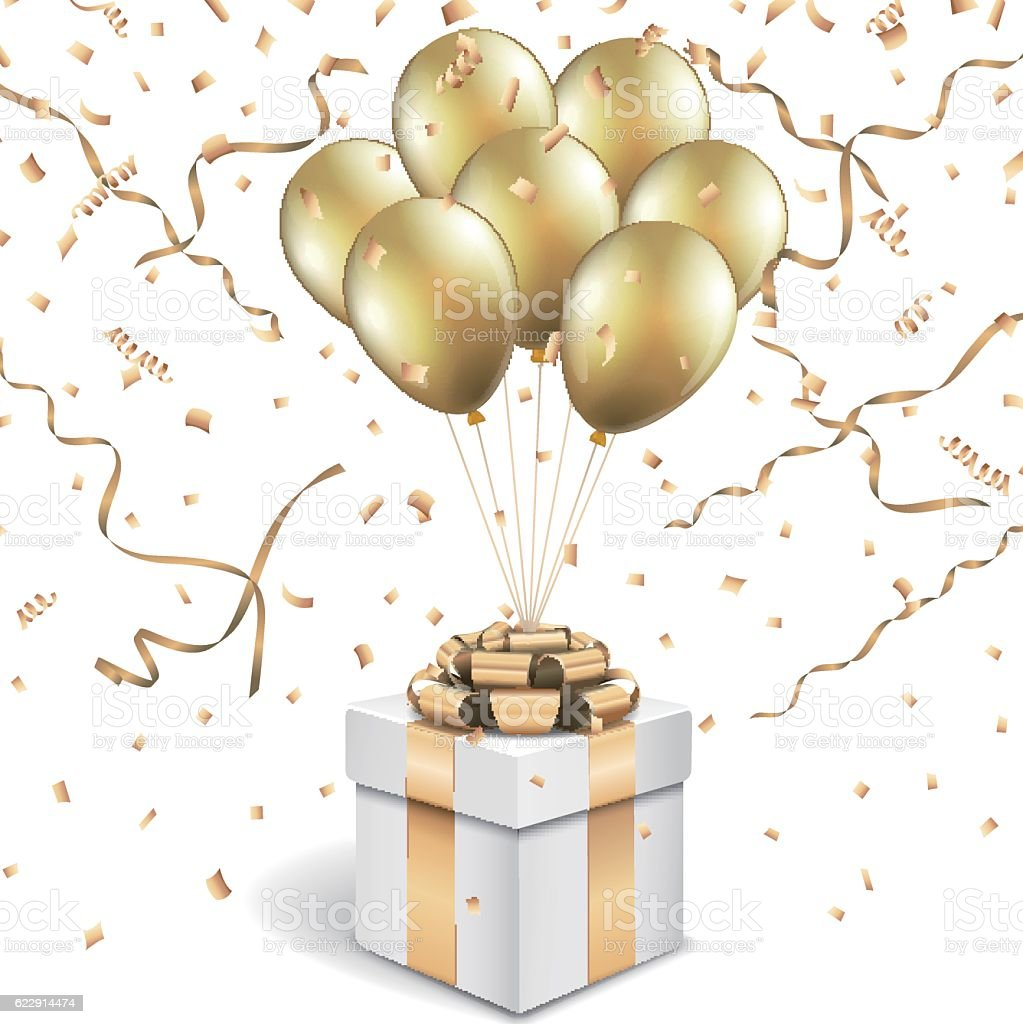christmas box with gold balloons