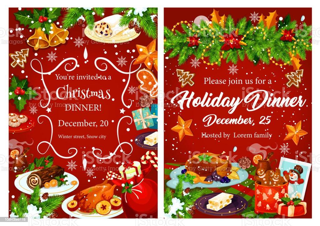 carte dinvitation de noel vacances diner festif vecteurs libres de droits et plus d images vectorielles de aliment istock