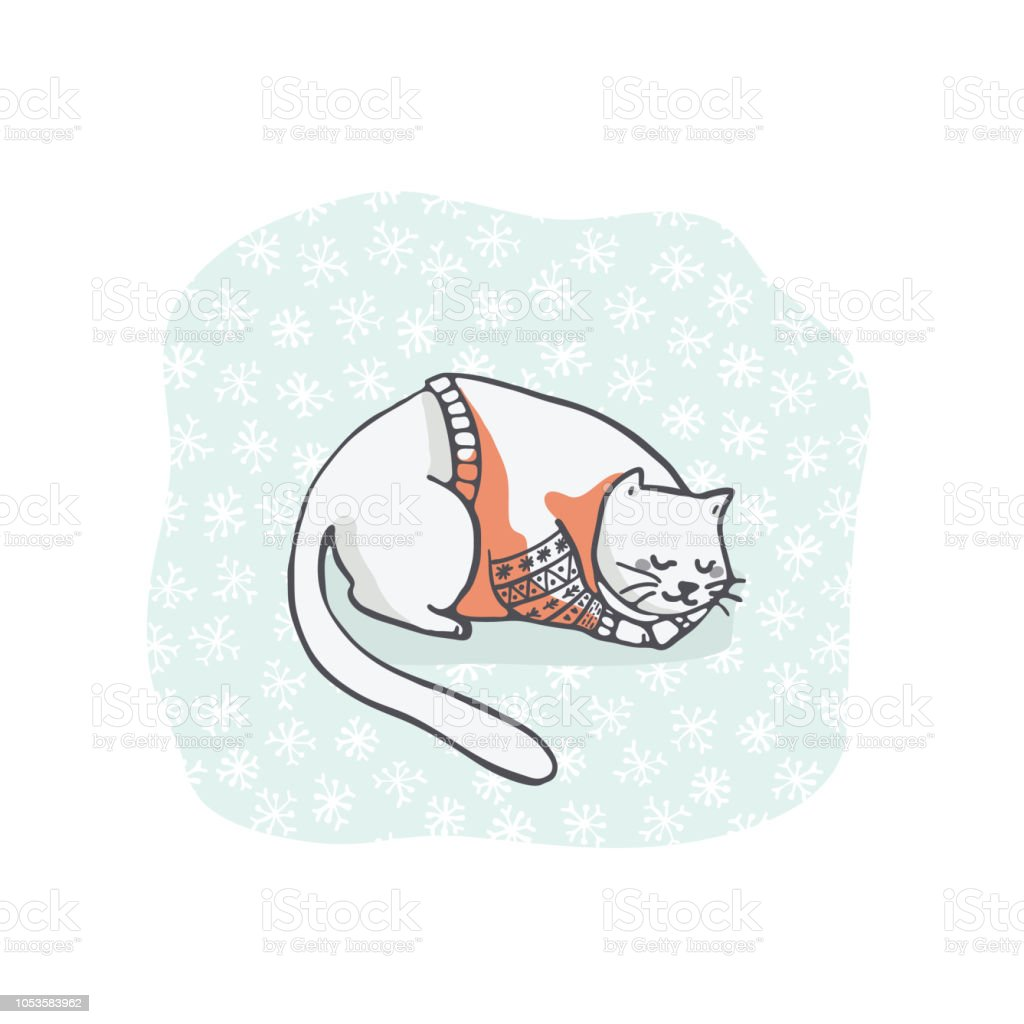 hight resolution of christmas kitten embroidery jumper and present box clipart hand drawn royalty free christmas kitten