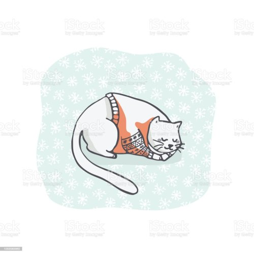 small resolution of christmas kitten embroidery jumper and present box clipart hand drawn royalty free christmas kitten