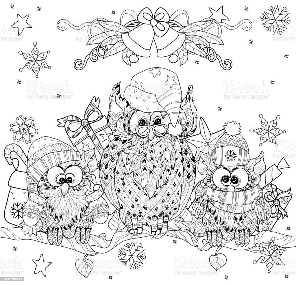 Christmas Owl On Tree Branch With Small Owls Stock