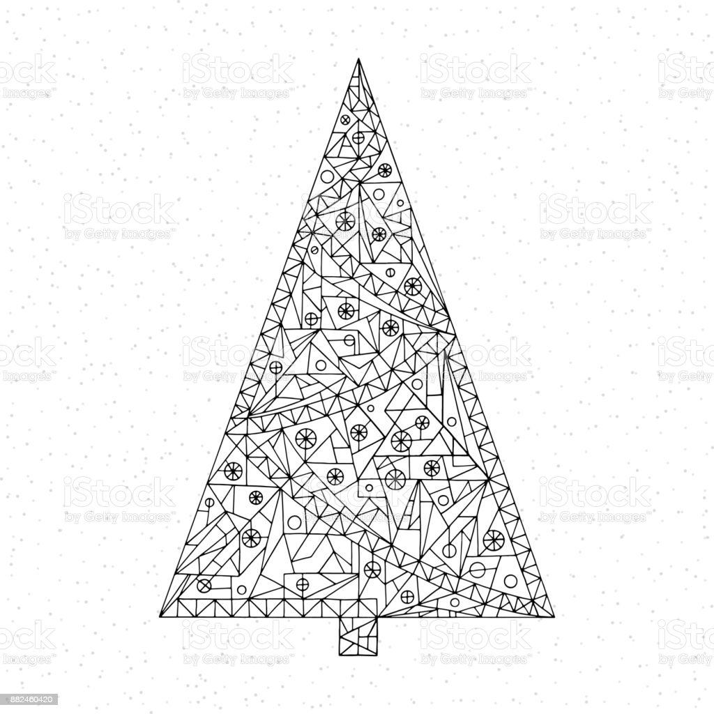 Christmas Tree Coloring Page Hand Drawn Abstract Winter