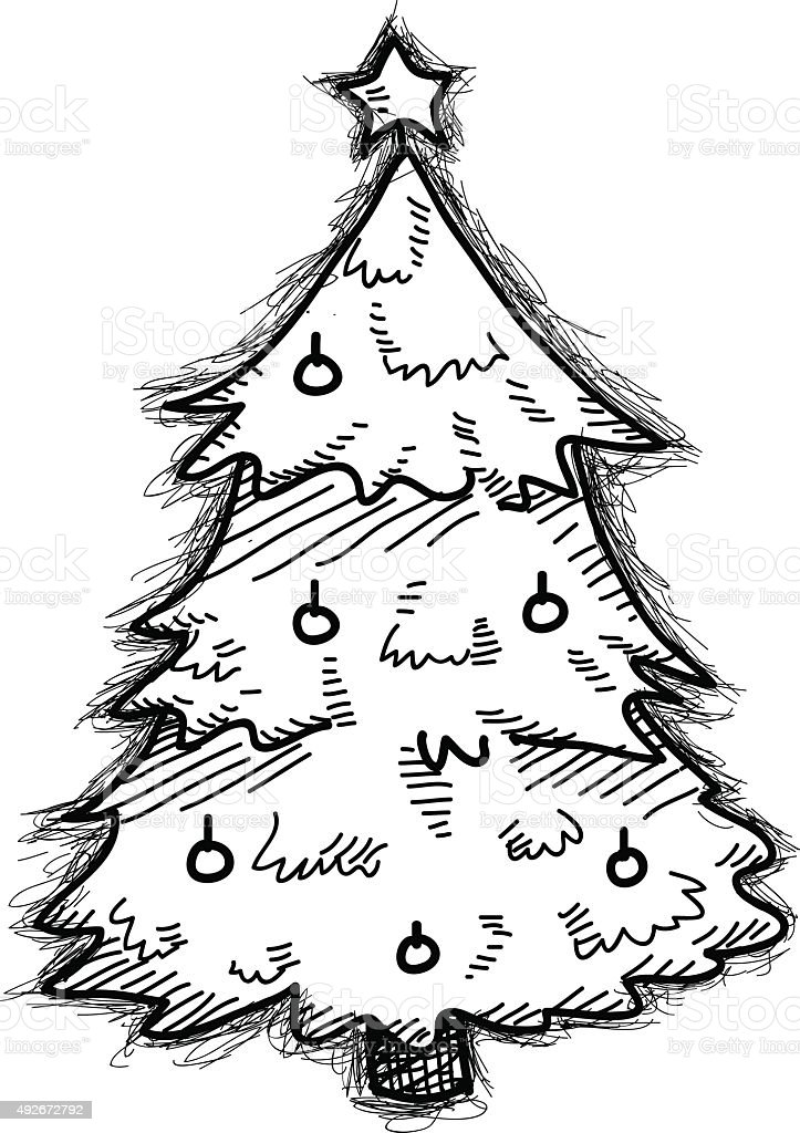 Christmas Tree Doodle : christmas, doodle, Christmas, Doodle, Stock, Illustration, Download, Image, IStock