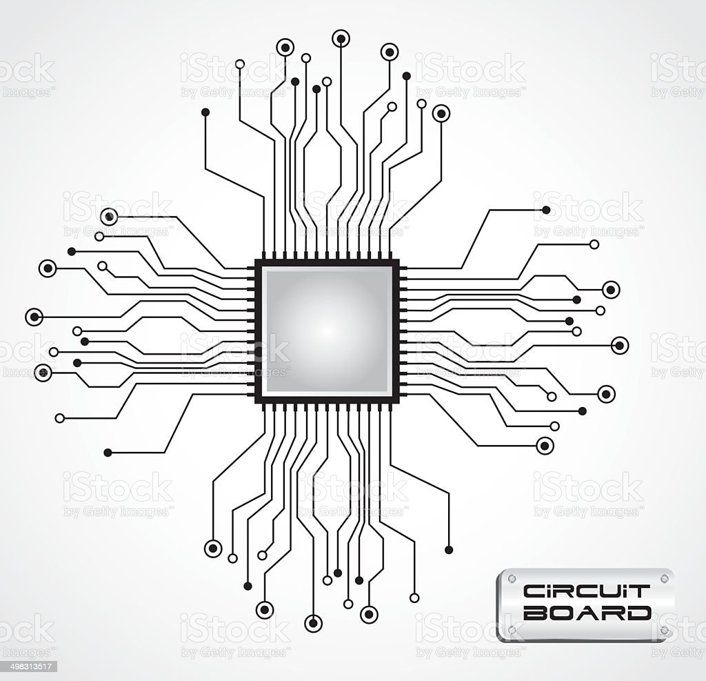 Circuit Board Cpu Stock Vector Art & More Images of