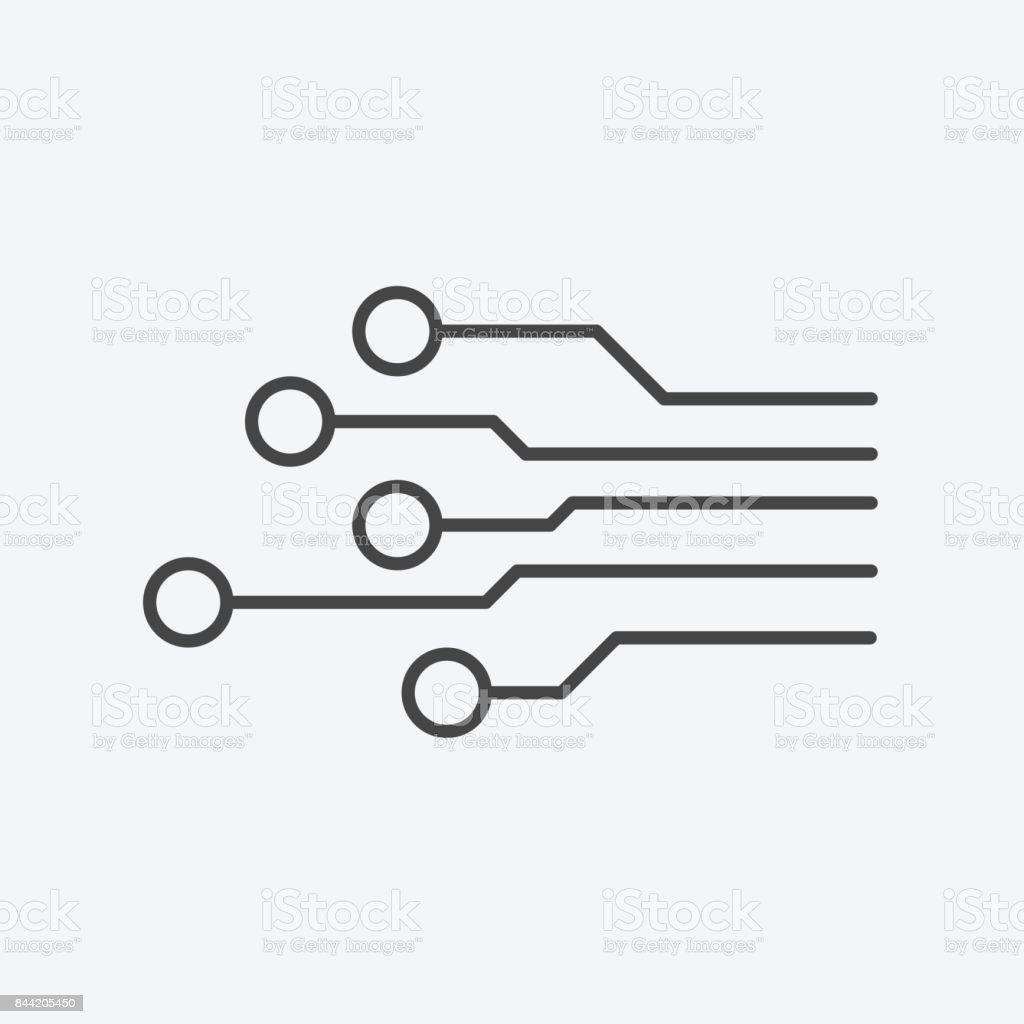 회로 보드 아이콘입니다 흰색 바탕에 기술 체계 기호 평면 벡터 일러스트 CPU에 대한 스톡 벡터 아트 및