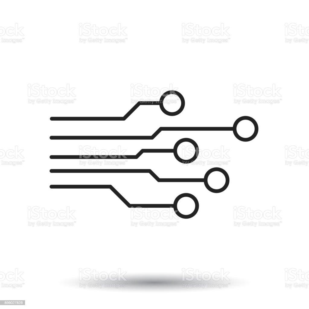 Circuit Board Icon Technology Scheme Symbol Flat Vector