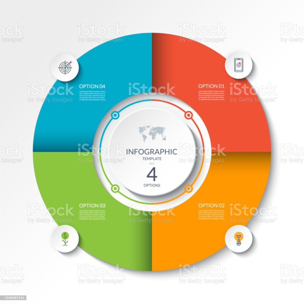 medium resolution of circular infographic flow chart process diagram circle or pie graph with 4 options parts