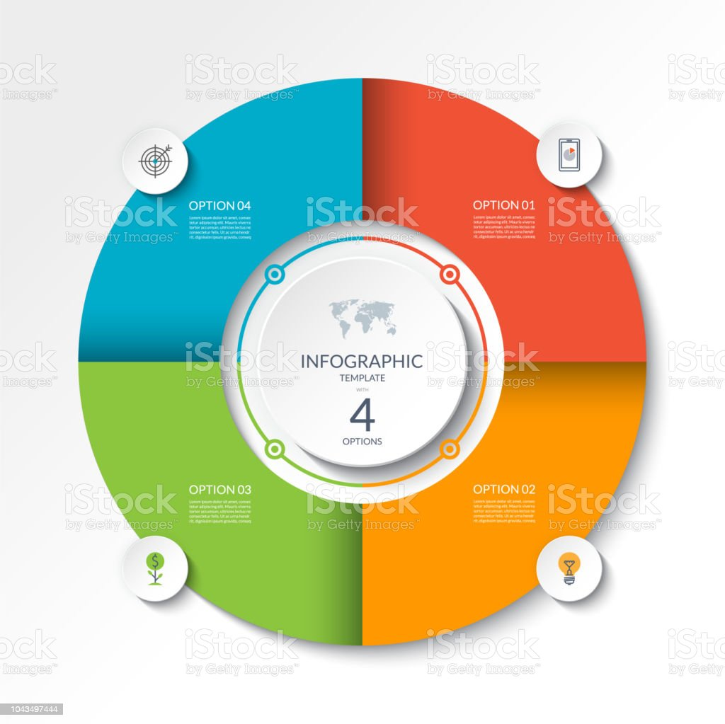 hight resolution of circular infographic flow chart process diagram circle or pie graph with 4 options parts