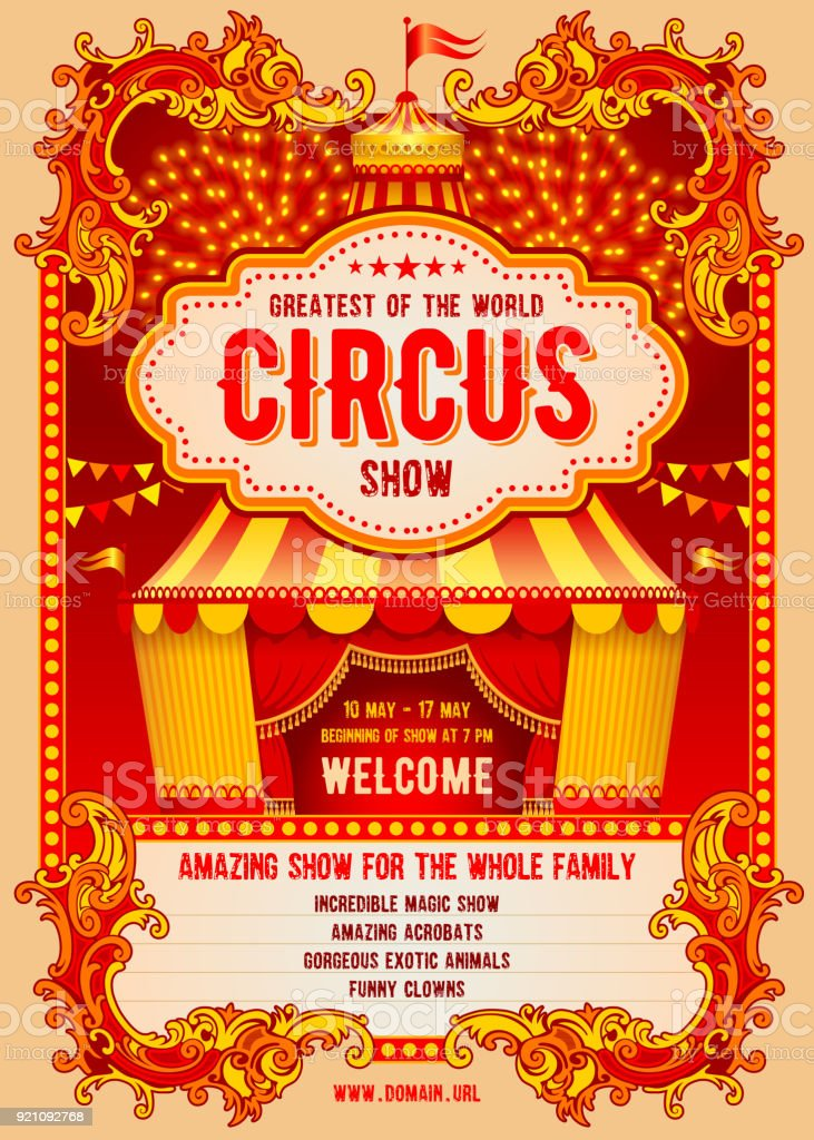 Circus Advertising Poster Stock Vector Art  More Images of Advertisement 921092768  iStock