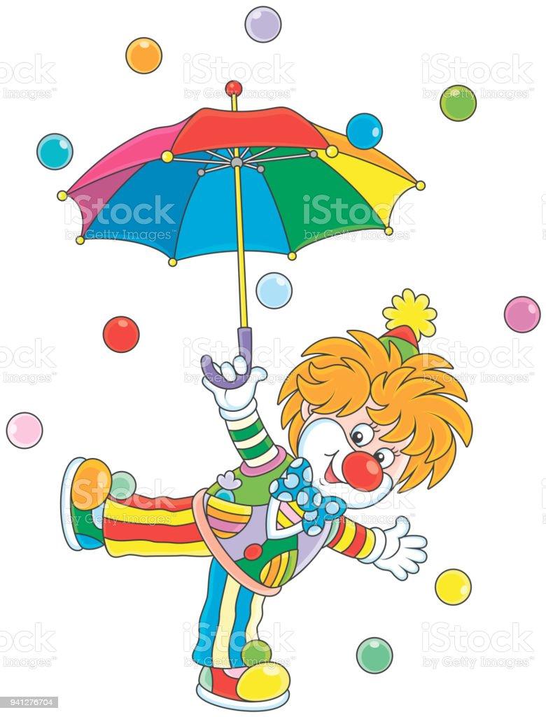 馬戲團小丑用雨傘 向量插圖及更多 丑角 圖片 941276704   iStock