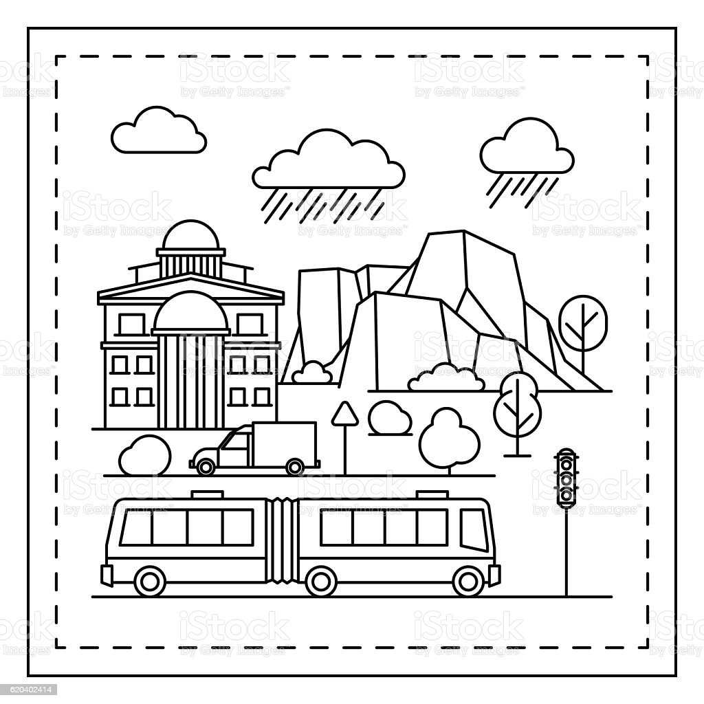 City Coloring Page For Kids Stock Vector Art & More Images
