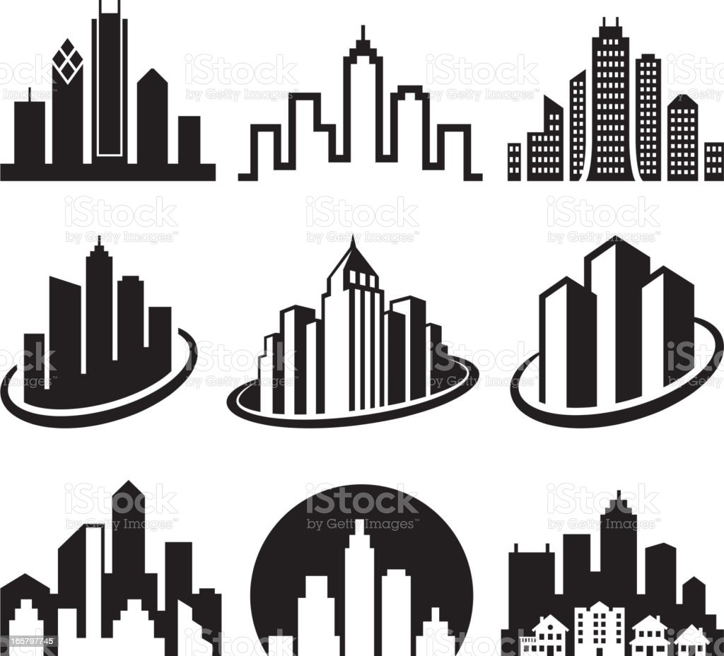 City Emblem Black White Royalty Free Vector Icon Set Stock
