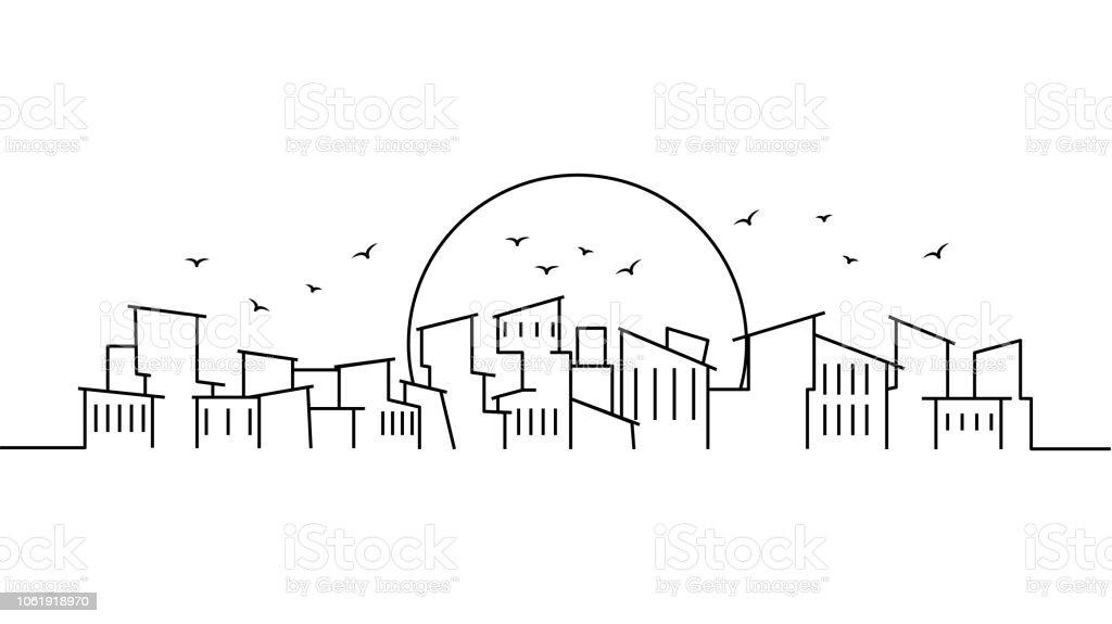 City Landscape Template Thin Line City Landscape Cityscape