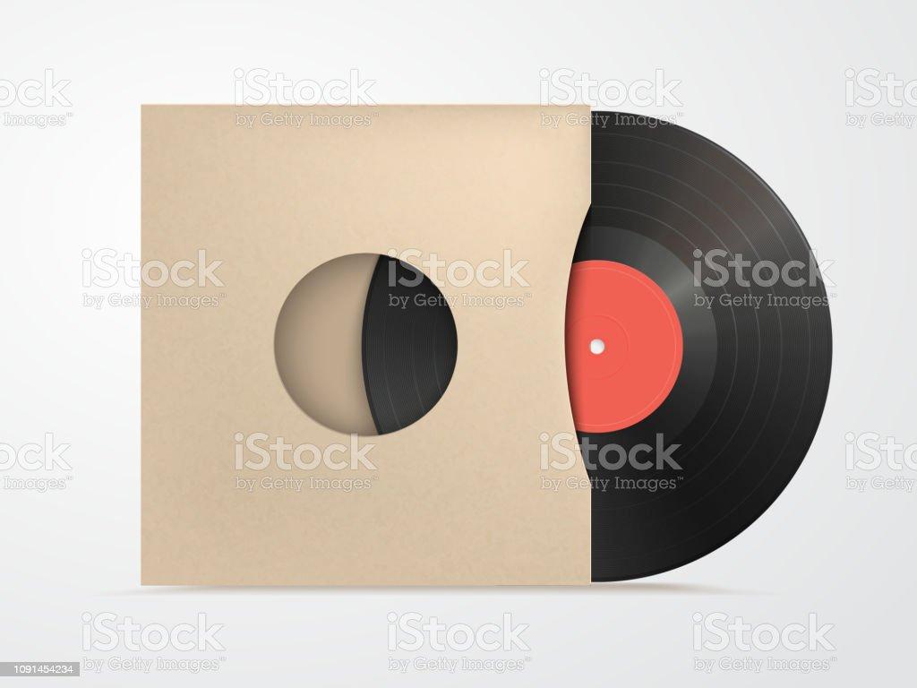 klassische designvorlage mit vinyl und cover mockup auf weissen bac stock vektor art und mehr bilder von aktentasche istock