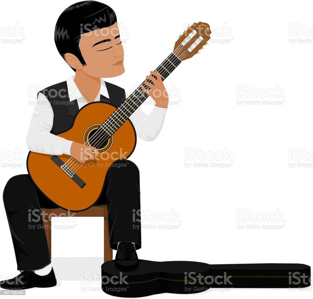classical guitar chair steel manufacturing process player stock vector art more images of arts illustration